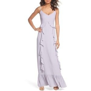 WAYF Lavender Loyal Ruffle Empire Maxi Dress